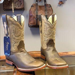 NEUF WESTERN Austin Accent Cowboy Boot bout pointe Rand argent gravé-Petit